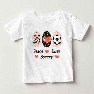Camiseta del bebé del fútbol del amor de la paz playeras