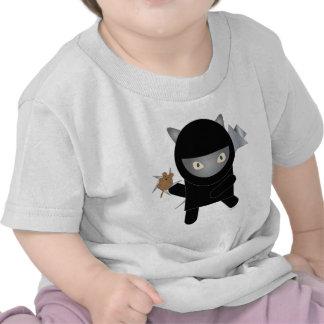 camiseta del bebé del gatito del ninja