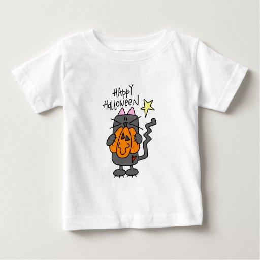 Camiseta del bebé del gato negro del feliz playera para bebé