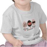 Camiseta del bebé del hockey del amor de la paz