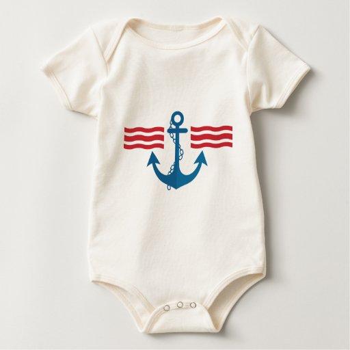 Camiseta del bebé del marinero mameluco