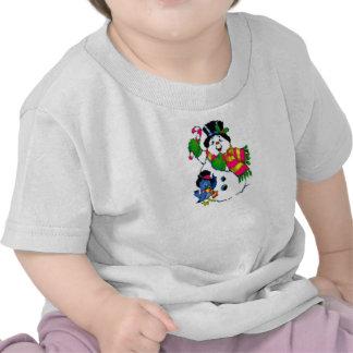 Camiseta del bebé del muñeco de nieve del día de f