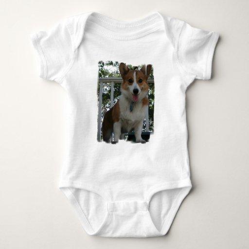 Camiseta del bebé del perro de perrito del Corgi