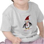 Camiseta del bebé del pingüino del navidad