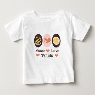Camiseta del bebé del tenis del amor de la paz camisas