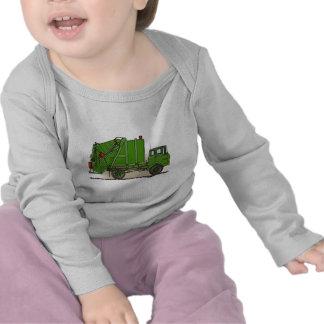 Camiseta del bebé del verde del camión de basura