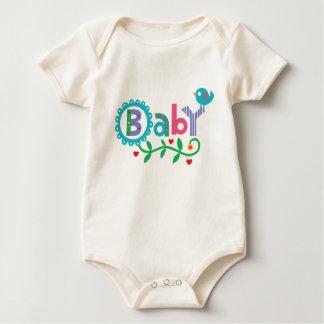 Camiseta del bebé y del pájaro mameluco