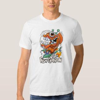 Camiseta del blanco de Gordon de los pescados Poleras
