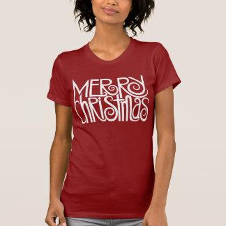 Camiseta del blanco de las Felices Navidad Poleras
