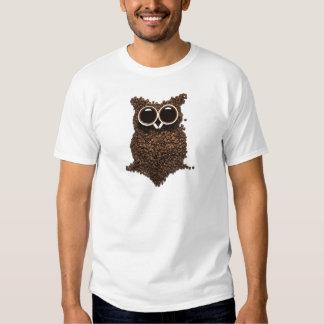 Camiseta del blanco del búho del café