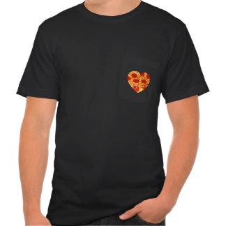 Camiseta del bolsillo del corazón de la pizza playera