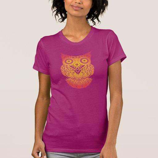 Camiseta del búho de Papercut del chino