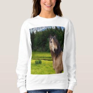 Camiseta del caballo del ante