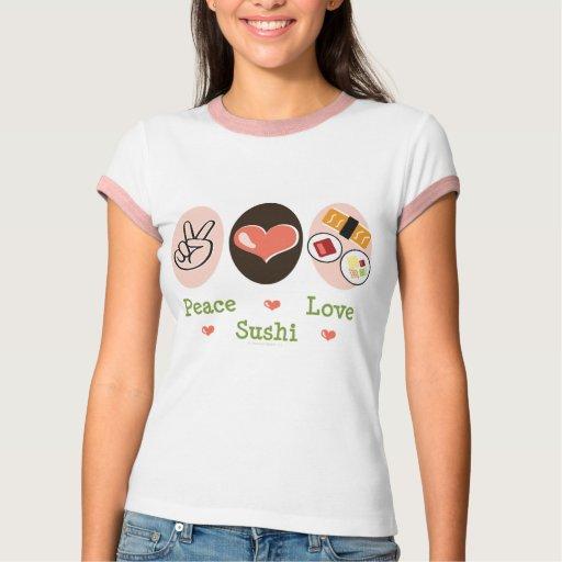 Camiseta del campanero del sushi del amor de la