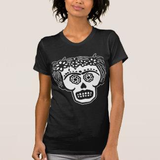 Camiseta del chica del cráneo del azúcar playera