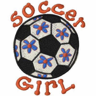 Camiseta del chica del fútbol polo bordado