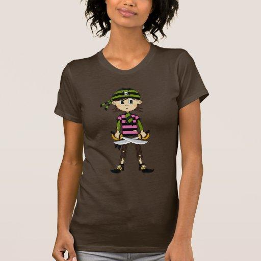 Camiseta del chica del pirata del pañuelo