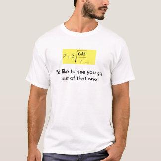 Camiseta del chiste de la velocidad de escape