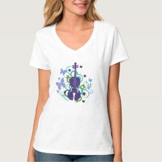 Camiseta del cielo del violín de las mujeres remera