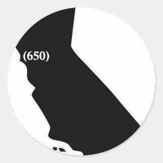 Camiseta del código de área 650, área de la bahía, pegatina redonda