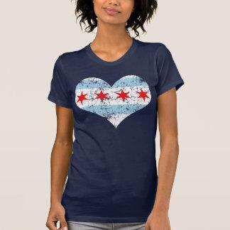 Camiseta del corazón de la bandera de Chicago