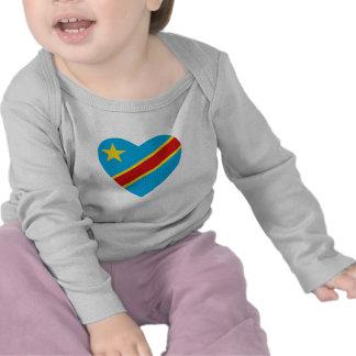 Camiseta del corazón de la bandera de Congo-Kinsha