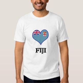 Camiseta del corazón de la bandera de Fiji Polera