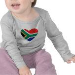 Camiseta del corazón de la bandera de Suráfrica