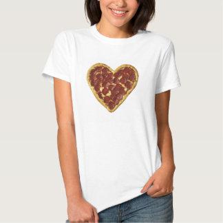Camiseta del corazón de la pizza playeras
