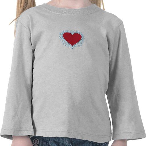 Camiseta del corazón de la tarjeta del día de San