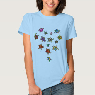 Camiseta del corazón de la tortuga del arco iris playera