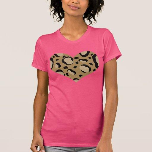 Camiseta del corazón del estampado de animales playeras