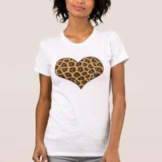 camiseta del corazón del estampado leopardo playera