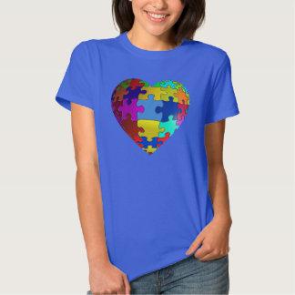 Camiseta del corazón del rompecabezas de la camisas