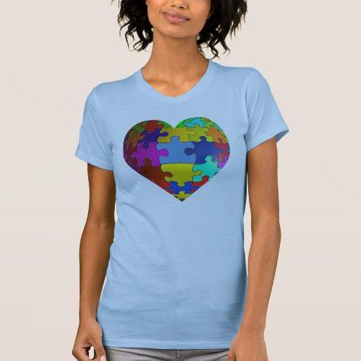 Camiseta del corazón del rompecabezas de la polera