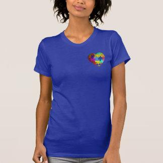 Camiseta del corazón del rompecabezas de la poleras