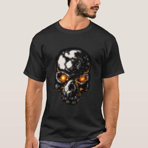 Camiseta del cráneo de los ojos que brilla
