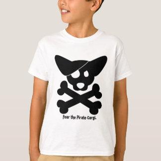 Camiseta del cráneo del Corgi y del niño de la Playeras