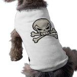 Camiseta del cráneo y del perrito de la bandera pi camisetas de perro
