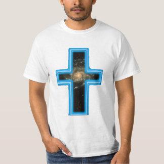 camiseta del cristiano de la cruz y del universo playeras