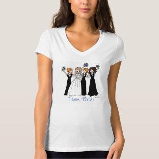 camiseta del cuello en v del jersey de la novia