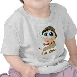Camiseta del cumpleaños del bebé de la pesca 1ra