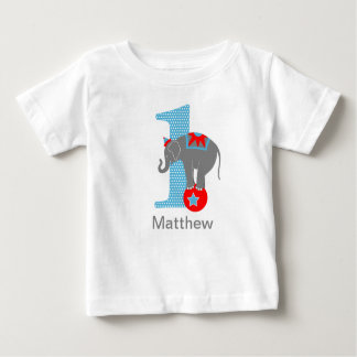 Camiseta del cumpleaños del elefante del circo polera