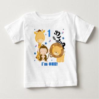 Camiseta del cumpleaños del safari de selva 1ra playera para bebé