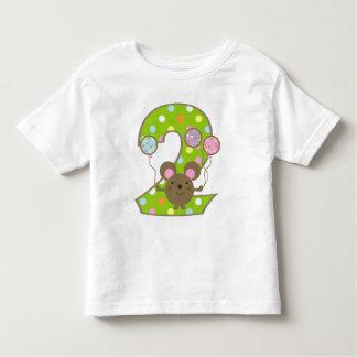Camiseta del cumpleaños del verde del ratón del poleras