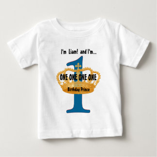 Camiseta del cumpleaños para una corona azul año polera