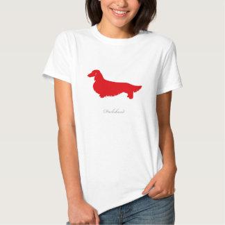 Camiseta del Dachshund (versión larga roja del Polera
