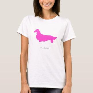 Camiseta del Dachshund (versión larga rosada del