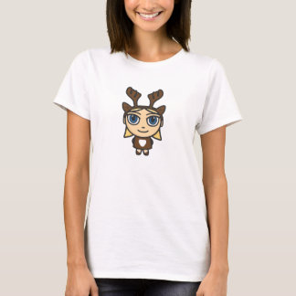 Camiseta del dibujo animado del chica del reno