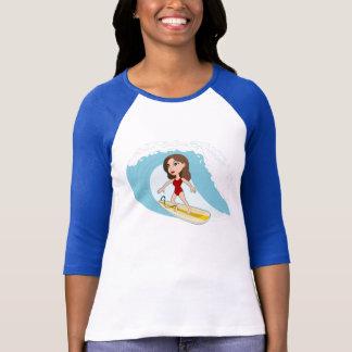Camiseta del dibujo animado del chica que practica